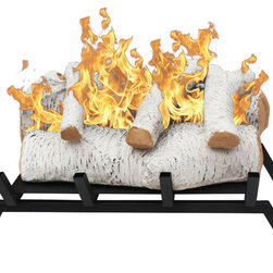 Moda Flame - Convert to Ethanol Log Fireplace Burner Insert - The Birch ethanol fireplace log set with grate makes converting your already existing wood-burning fireplace to an eco-friendly ventless ethanol fireplace simple and easy.  No need for logging of wood, cleanup, and smoke. This ethanol fireplace log grate insert includes 5 lightweight ceramic fireplace gas logs, fireplace grate and a 1.5 liter Moda Flame PRO collection burner. It is as simple as inserting this ethanol fireplace grate log set into your hearth, pouring ethanol fireplace fuel and lighting with an extended candle lighter.
