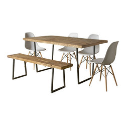 Urban Wood Goods - Brooklyn Modern Rustic Reclaimed Wood Dining Table - When it comes to telling stories around the table, your table could tell a few. This modern dining table is topped with hand-crafted reclaimed wood from century-old buildings, and each beautifully finished plank shows the dings and dents from years of use.