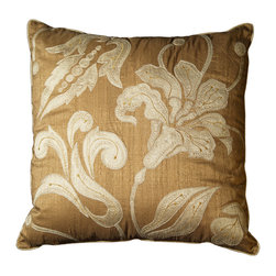None - Chantal Clay Brown Floral Decorative Throw Pillow (Set of 2) - Handcrafted in India with durable polyester, this knife edge throw pillow set is a bright addition to any decor. Shimmery cedar brown fabric is combined with a beautiful beige floral pattern for a unique decorative effect.