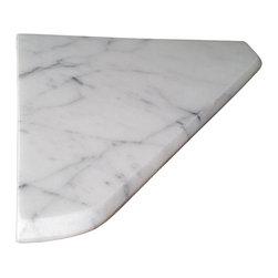 "Stone Zone - 8"" Marble Shower Corner Shelf (C. Statuary) Stone Bathroom Caddy Soap Dish - Carrara  Statuary Marble  Shower Corner Shelf"