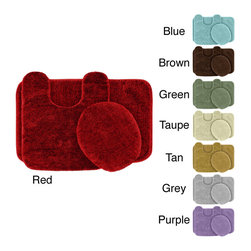 None - Plush Deluxe Washable 3-piece Bath Rug Set - Relish the luxurious softness of the Plush Deluxe bathroom 3-piece rug collection. Constructed of nylon and featuring a non-skid latex backing for safety,this set is available in a red,tan,blue,grey,green,purple or chocolate finish.