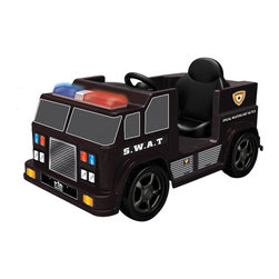 Kid Motorz - Kid Motorz SWAT Car Battery Powered Riding Toy Multicolor - 0606 - Shop for Tricycles and Riding Toys from Hayneedle.com! Criminals have nowhere to hide when justice rolls on the Kid Motorz SWAT Car Battery Powered Riding Toy. This fun riding toy moves on a 6-volt rechargeable battery that sends it rolling in either forward or reverse at two MPH. Flashing lights realistic sounds and a working microphone give your child the true law enforcement experience. A rugged plastic body with realistic decals finish the look that will make them the best officer on the force. An included charger also makes sure that they're always ready to go.