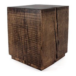 Pfeifer Studio - Wooden Cube Table - We love the classic shape of our Wooden Cube Table, created from solid logs harvested in the mountains of Northern New Mexico. Our tables are in stock and finished-to-order.