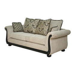 Royola Pacific - Ebony/Taupe Plush Contemporary Lounge Loveseat & Sofa, Sofa - Solid hardwood construction