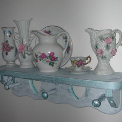 My shabby chic projects - I painted a floating shelf, because I was big into shabby chic a few years ago.