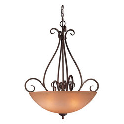Minka-Lavery - Caspian Bowl Pendant - Tasteful bowl pendant is from the Caspian collection.  Pendant features scrolled arms in a warm Golden Bronze finish complimented by beautiful Caspian glass that is a warm champagne color.   Minka-Lavery - 724-355