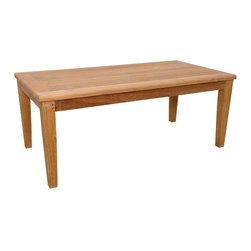 Anderson Teak - Brianna Rectangular Coffee Table - Unfinished - The Patio Teak Construction Light Finish Coffee Table is ideal for indoor or outdoor use!  Measuring 47 inches long, this sleekly styled table is crafted of durable, decay-resistant Teak wood and features a slatted wood top with attractively tapered legs.  Long coffee table accommodates drinks, dishes and more.  Quality wood component makes the difference in the outdoors as a complementary natural item.  Prepare that succulent, jerk BBQ, gather up your friends and relish your lovely Natural Solid Teak Coffee Table - Outdoor, an addition reflective of detailed artisan work, style, and design. * Rectangular in shape. Strong enough to sit on. Perfect for snack or functional table. Teak wood construction. Can be accompany with Brianna Deep Seating collections as well as with other Brianna Collections. Minimal assembly required. 47 in. W x 23 in. D x 19 in. H (37 lbs.)The Brianna Rectangular Coffee Table is the perfect addition for your patio. This rectangular table is simple, straightforward and sturdy.