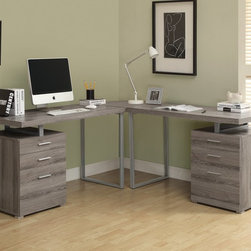 Monarch - 3Pc Desk Set in Dark Taupe Reclaimed-Look - Creating a striking look to your home office. This simple yet practical dark taupe reclaimed-look finish hollow-core 3pc desk set is the perfect addition to your home office. With the addition of the wedge corner unit between the desk, it helps to create space for a more generous work station. The mobile side drawers provide you with space to store office supplies, papers, books, files folders, and plenty more. Use the spacious table top for your computer, a lamp and even some pictures.