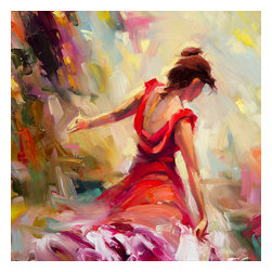 Steve Henderson Fine Art - Dancer Artwork -- Original Oil Painting - Original oil painting on panel, 12 x 12. Gold-colored frame included with purchase, finished hanging size is 18 x 18. This is the original oil painting of a licensed work.