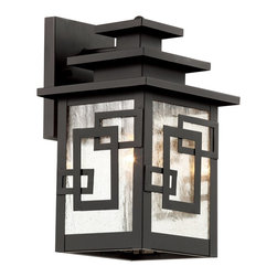 Trans Globe Lighting - Trans Globe Lighting 40180 WB Geo Tempo Modern / Contemporary Outdoor Wall Sconc - Weather resistant cast aluminum. Clear seeded glass with cross over rectangles. Open at bottom for easy bulb access. 3 tiered roof. Asian inspired.