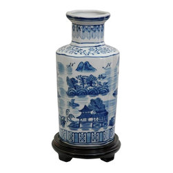 """Oriental Furniture - 12"""" Landscape Blue and White Porcelain Vase - High-shouldered porcelain ceramic vase with a hexagonal body and a short, narrow neck. Decorated with a finely-detailed Ming blue and white oriental landscape featuring mountains and pagodas. Display on its own on a stand or in a curio cabinet, or fill with silk flowers or bamboo."""