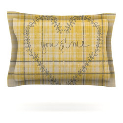 "Kess InHouse - Robin Dickinson ""You & Me"" Yellow Pillow Sham (Cotton, 30"" x 20"") - Pairing your already chic duvet cover with playful pillow shams is the perfect way to tie your bedroom together. There are endless possibilities to feed your artistic palette with these imaginative pillow shams. It will looks so elegant you won't want ruin the masterpiece you have created when you go to bed. Not only are these pillow shams nice to look at they are also made from a high quality cotton blend. They are so soft that they will elevate your sleep up to level that is beyond Cloud 9. We always print our goods with the highest quality printing process in order to maintain the integrity of the art that you are adeptly displaying. This means that you won't have to worry about your art fading or your sham loosing it's freshness."