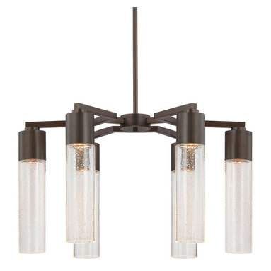 Light Rain Chandelier by George Kovacs - Light Rain chandelier features clear seeded glass and a sable bronze patina finish. Available in a mini pendant, wall sconce, 6 light island suspension and 6 light chandelier version. Six 35 watt, 120 volt, MR16 GU10 base halogen lamps not included. General light distribution. 24 inch diameter x 13.25 inch height.