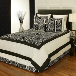 "Sherry Kline - Zuma 8-piece Comforter Set - Features: -Available in Queen or King sizes. -Set includes 1 comforter, 1 bed skirt, 2 shams, 1 boudoir pillow, 1 square pillow and 2 euro shams. -Color: Black and white. -Zebra print design with a classic twist. -Update your bedroom decor with this luxurious comforter set. -Material: Polyester. -Printed fabric detail. -Dry clean recommended. -Pillows spot clean. -Made in USA. -Comforter Queen: 94"" H x 90"" W. -Comforter King: 94"" H x 104"" W. -Bedskirt Queen: 15"" H x 60"" W x 80"" D. -Bedskirt King: 15"" H x 78"" W x 80"" D. -Bedskirt drop length: 14"". -Standard Sham: 20"" H x 26"" W. -King Sham: 20"" H x 36"" W. -Square Pillow: 18"" H x 18"" W. -Boudoir Pillow: 13"" H x 19"" W. -Euro Sham: 26"" H x 26"" W."