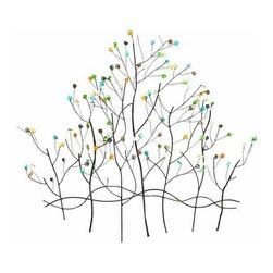 UMA - Budding Tree Metal Wall Hanging - A cluster of trees comes back to life with budding early spring color