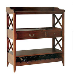 Wayborn - Wayborn Eiffel Open Storage Sideboard with Wine Rack in Brown - Wayborn - Buffet Tables and Sideboards - 9113