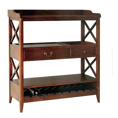 Wayborn - Wayborn Eiffel Open Storage Sideboard with Wine Rack in Brown - Wayborn - Buffet Tables and Sideboards - 9113