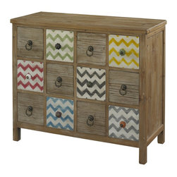 Powell - Powell Squiggly Dee 12 Drawer Console X-903-111 - The Squiggly-Dee collection of accent furniture combines rustic and trendy in our driftwood and distressed painted chevron finishes. The Squiggly-Dee Console features a driftwood finish with twelve square drawers that provide organized storage space for all of your things. Decorative knobs in contrasting bright colors and antique gold circular pulls accent the drawers. Every other drawer is painted with white and colored (colors are: green, yellow, red, black, blue, and grey) chevron pattern. It is part of the Squiggly-Dee line that includes a side table, an accent table, a 12-Drawer console, a wood tray, and a high chest.