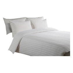 600 TC Duvet Cover with 1 Fitted Sheet Striped White, Twin - You are buying 1 Duvet Cover (68 x 90 inches) and 1 Fitted Sheet (39 x 80 inches) only.