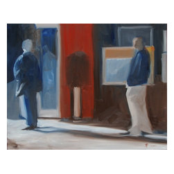 2 Figures In Red, White And Blue, Original, Painting - Two anonymous figures share a public street, not together.
