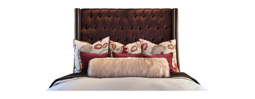 Diamond Head Upholstery Tack - Diamond Head Tufted Headboard, King - A custom handmade luxurious headboard in gorgeous & plush brown velvet fabric, book-ended with twin rows of stunning designer Riverstone decorative upholstery nails.