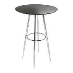 "Eurostyle - Eurostyle Bravo-B Round Leg Bar Table w/ Chrome Base in Black - Round Leg Bar Table w/ Chrome Base in Black belongs to Bravo Collection by Eurostyle 30"" diameter top isn't the only thing that makes the Bravo Bar table a great place to gather. The circle is repeated in the base for strength and eye appeal. It just says, ""Relax, I'd like to buy you a drink"". But c'mon, it's a table! Table Top (1), Table Base (1)"