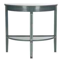 Safavieh - Amos Console - Dark Teal - A beautiful demilune table, the Amos console makes an artful addition to a living room or hall when decked out with lamps and accessories. Fashioned of pine with a dark teal finish this transitional console features pretty carved legs and useful shelf.