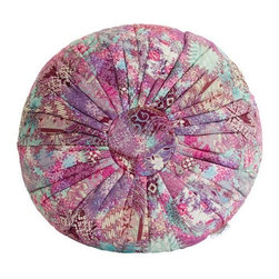 "Brilliant Imports - Abstract Floral Batik Pouf Pillow, Red-Pink, Varies by Pouf - This charming pouf knows how to make a statement. Sit on it and transcend. Designed by and exclusively handmade for Brilliant Imports in Bali with batik fabric. Use as a floor pillow/cushion, pouf or as an extra seat.  Available in a red-pink palette as well as in a blue-lavender design.  100% cotton.  Dimensions:  14h x 25""diam {size varies slightly by pouf}"