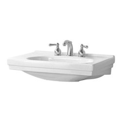 Pegasus - Structure Pedestal Lavatory Basin in White - Manufacturer SKU: F-1950-8WH. Faucet not included. Stylish art deco design. Rear overflow. Made from high quality grade A vitreous china. Depth: 9.5 in.. Overall: 28.25 in. W x 20 in. D x 34 in. H (49 lbs.)