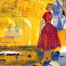 """""""Ideal #1"""" Artwork - Encaustic, mixed media collage with bold colors and vintage women's sewing patterns."""