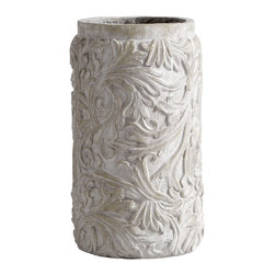 Cyan Design - Cyan Design Crestline Medium Traditional Planter X-11750 - From the Crestline Collection, this Cyan Design planter starts with a cylindrical shape. The body is adorned with eye-catching leafy flourishes, which are paired with a simple lip and fiber clay construction. The Weathered Cast Stone features a gray hue, completing the look.