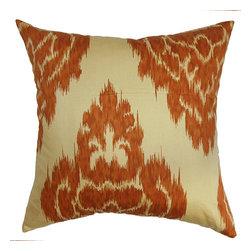 The Pillow Collection - Ajayi Orange 18 x 18 Ikat Throw Pillow - - Pillows have hidden zippers for easy removal and cleaning  - Reversible pillow with same fabric on both sides  - Comes standard with a 5/95 feather blend pillow insert  - All four sides have a clean knife-edge finish  - Pillow insert is 19 x 19 to ensure a tight and generous fit  - Cover and insert made in the USA  - Spot clean and Dry cleaning recommended  - Fill Material: 5/95 down feather blend The Pillow Collection - P18-D-20862-SPICE-C100