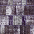 Rugsville Vintage Overdyed Patchwork Brown Purple Rug - Rugsville patchwork rug is a classic pattern in over dyed rugs, a design of patches. Each rug is a unique creation. They are manually over dyed using natural vegetable dyes.