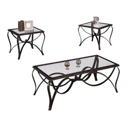 Chelsea Home Furniture - Chelsea Home 3-Piece Coffee Table Set With Glass Top And  Metal Frame - 3-Piece Coffee Table Set with Glass Top & Metal Frame belongs to Verona IV collection by Chelsea Home Furniture.