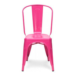 sugarSCOUT - Custom Painted Tolix Style High Back Side Chair, Pink - Go bright....go colorful.