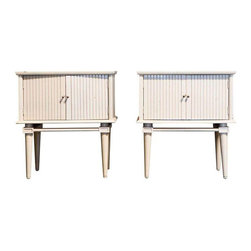 White Lacquer Side Tables with Doors - $899 Est. Retail - $359 on Chairish.com -