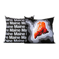 """Cartoloji - Maine Map Pillow, Charcoal - The pillow features a topographical map of the state on the front and the state name text on the reverse. Pillow cover is made from 100%  certified organic cotton sateen and is printed with eco-friendly inks. Pillow insert is a non-allergenic faux-down poly-fill. Pillow dimensions: 17"""" x 17"""". Hand wash or dry clean. Made in the USA. Listing is for 1 double sided pillow."""
