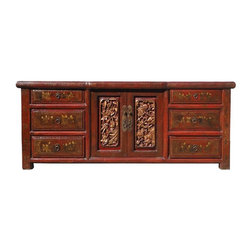 Golden Lotus - Chinese Rustic Red Lacquer Carving Kid Graphic Low Console - This is a Chinese Fujain style low console with rustic red lacquer surface and decent golden color graphic of kids ont he drawers and golden painted carving on the doors. It is also a nice TV stand or low table below wall mounted TV.