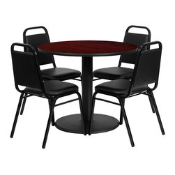 Flash Furniture - Flash Furniture Restaurant Furniture Table and Chairs X-GG-2001BRSR - 36'' Round Mahogany Laminate Table Set with 4 Black Trapezoidal Back Banquet Chairs [RSRB1002-GG]
