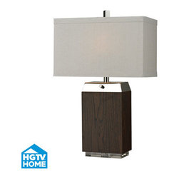 HGTV HOME - HGTV HOME HGTV312 Hgtv Home 2 Light Table Lamps in Dark Wood Veneer / Acrylic / - Wood Veneer Table Lamp with Acrylic Base and Polised Nickle Accents