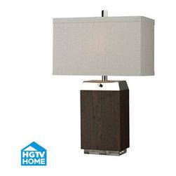 HGTV HOME - HGTV HOME HGTV312 Hgtv Home 2 Light Table Lamps in Dark Wood Veneer / Acrylic / - Wood Veneer Table Lamp with Acrylic Base and Polised Nickle Accents