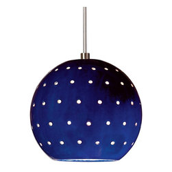 A19 Lighting - Lunar Modern Round Mini Pendant - Cobalt Blue - A19'S Lunar Mini Pendant Evokes The Planets And Stars. Its Small Spherical Shape Is Supplemented By Tiny Circular Holes, Emitting An Additional Glow Of Light Over The Hand-Glazed Surface Of The Fixture. The Hang Straight Sleeve Slides Over The Coaxial Cord Creating A Refined Aesthetic And The Ceramic Shade Blocks Glare While Providing Generous Energy Efficient Down-Lighting. On Its Own, Lunar Is Perfect For A Little Accent Light. Or Group For More Light In A Row Or Multi-Length Collection.Height:5