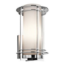 Kichler Lighting - Kichler Lighting Pacific Edge Modern / Contemporary Outdoor Wall Sconce X-613SSP - Polished stainless steel sparkles against satin etched cased opal glass on the Kichler Lighting Pacific Edge Modern / Contemporary Outdoor Wall Sconce. This shiny silvery light would stand out as an outdoor wall light fixture, but its glamorous design makes it a winner for indoor applications as well as outdoor wall sconce lights.
