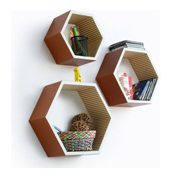 Blancho Bedding - Rural Life Hexagon Leather Wall Shelf / Bookshelf / Floating Shelf  Set of 3 - These beautifully Hexagonal Shaped Wall Shelves display the art of woodworking and add a refreshing element to your home. Versatile in design, these leather wall shelves come in various colors and patterns. These elegant pieces of wall decor can be used for various purposes. It is ideal for displaying keepsakes, books, CDs, photo frames and so much more. Install as shown or you may separate the shelves to create a layout that suits your taste and your style. They spice up your home's decor, and create a multifunctional storage unit for all around your home. Each box serves as a practical shelf, as well as a great wall decoration.
