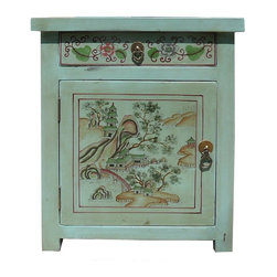 Golden Lotus - Oriental Pastel Blue Color Kid Scenery Side Table Nightstand - This is a side table / nightstand with rustic vintage pastel blue lacquer finish. A colorful scenery of kids and Asian scenery is drawn on the door, drawer and top. Matching piece vs631