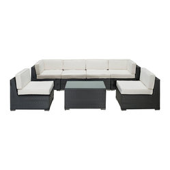 Aero Outdoor Wicker Patio 7 Piece Sectional Sofa Set in Espresso with White Cush