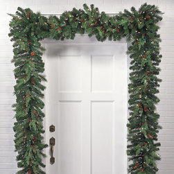Frontgate - White Pine Cordless Christmas Garland Christmas Decor - Boughs and berries perfectly mimic nature. Superbright, 5mm LED bulbs are energy efficient and long lasting. Convenient 6-hour timer. Optional manual switch located on the weatherproof battery box. To maximize fullness, greenery will need to be shaped. Wispy cedar and Douglas fir branches and berries, along with pinecones and bright LED lights make our Winter Pine Cordless wreaths and garland truly shine. This lush greenery can be easily programmed to glow at the same time, every day of the week.  .  .  .  . . Operates on D batteries (not included) .