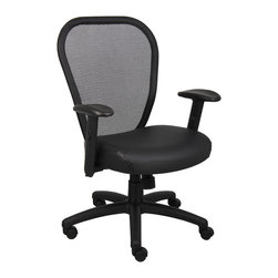 """Boss Chairs - Boss Chairs Boss Professional Managers Mesh Chair with Leather Seat - Thick padded contoured seat and air mesh back with built-in lumbar support. 2 to 1 synchro tilt mechanism with adjustable tilt tension control. Leather plus seat with ample padding. Adjustable height armrests with soft polyurethane pads. Seat tilt lock allows the seat to lock in the upright position. Padded back frame. Pneumatic gas list seat height adjustment. Large 27"""" nylon base for greater stability. Hooded double wheel casters."""