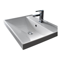 Scarabeo - Square White Ceramic Self Rimming or Wall Mounted Bathroom Sink, One Hole - Square white ceramic self rimming or wall mounted sink. Suspended or self rimming sink comes with overflow and no hole, one hole, or three drilled hole options. Made in Italy by Scarabeo.