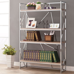 Coaster - Bookshelf, Reclaimed Wood - Use this unique bookshelf in your home to keep books or display your favorite collectibles. Featuring shelves with a reclaimed wood look and abstract chrome detailing that gives this bookshelf a contemporary look.